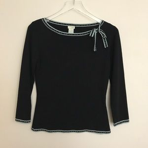 Anthropologie Odille sweater w/blue trim and bow M